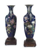 A pair of large Japanese cloisonné vases, Meiji period, 1868-1912