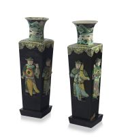 A pair of Chinese famille-noir vases, Qing dynasty, 19th century
