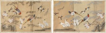 A pair of Chinese ink and colour on silk paintings, Qing Dynasty, 19th century