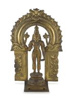 A gilt bronze figure of Vishnu, South India