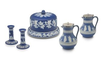 A Staffordshire blue jasperware cheese dish and cover, late 19th century