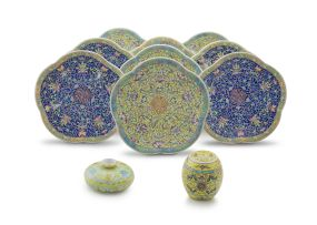 A set of nine Chinese polychrome enamel pedestal dishes, 20th century