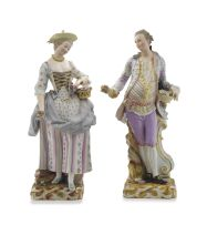 A Meissen figure of a gallant and his companion, late 19th century