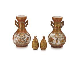 A pair of Japanese Kutani vases, late Meiji period, 1868-1912