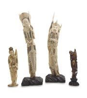A pair of Chinese ivory figures of archers, Qing Dynasty, 19th/20th century