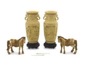 A pair of Chinese composite figures of horses, 20th century