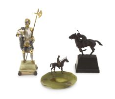 A bronze sculpture of a polo player, 20th century