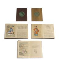 Five Chinese coloured ink on silk concertina books, early 20th century