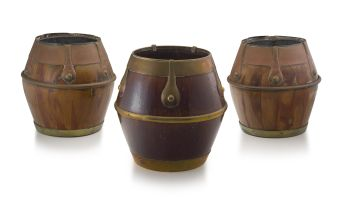 Three Oriental bamboo and metal-bound vessels