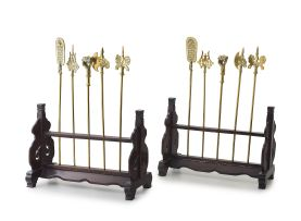 A pair of miniature Tibetan guidon stands, late 19th/early 20th century