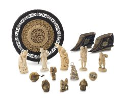 A miscellaneous collection of Chinese and Japanese ivories, 19th/20th century