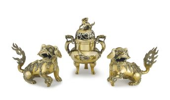 A pair of Chinese brass dogs-of-fo, 20th century