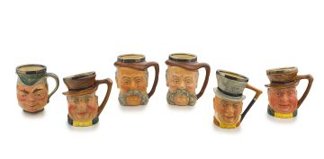 Six Lancaster & Sandland Limited handpainted silver-mounted character jugs, 20th century