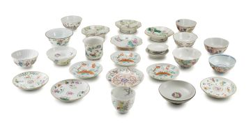 A miscellaneous group of Chinese famille-rose bowls, saucers and pedestal dishes, late 19th/early 20th century