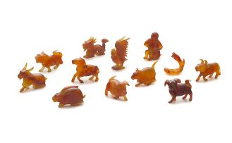Twelve Chinese agate carvings of the zodiac, 20th century