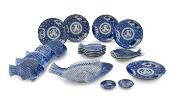 A set of ten Japanese blue and white fish platters, early 20th century