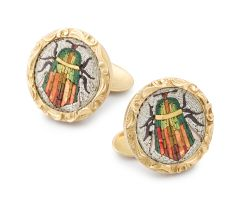 Pair of micromosaic and gold cuff-links