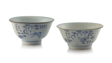A pair of Chinese provincial blue and white bowls, Qing Dynasty, mid 18th century