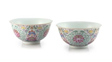 A pair of Chinese famille-rose bowls, Guangxu, 1875-1908