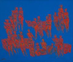 Walter Battiss; Untitled (Figures in Blue and Red)