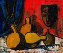 Maurice van Essche; Still Life with Calabashes and Mask