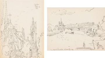 Walter Battiss; Notre Dame; From Pont d'Austerlitz, Paris, two