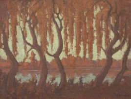 Jacob Hendrik Pierneef; Willow Trees on a River Bank