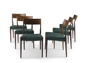 Six Dutch rosewood and teak 'EJ' side chairs designed in 1962 by Cor Bontenbal for Fristho Franeker