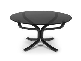 A Norwegian glass and ebonised 'Falcon' table designed in the 1960s by Sigurd Ressell for Vatne Møbler