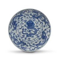 A Chinese blue and white dish, Qing Dynasty, 19th century