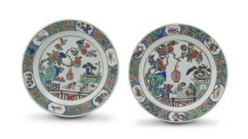 A pair of Chinese famille-verte plates, Qing Dynasty, 18th century