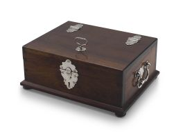 A Colonial padouk and silver-mounted deeds box, 1751