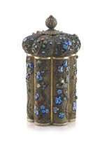 A Chinese silver-gilt mesh and enamel tea caddy, 20th century