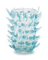A Murano aquamarine glass vase designed by Enrico Camozzo, 20th century