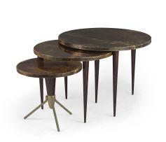 A nest of three Italian Aldo Tura goatskin, lacquered and mahogany tables, 1950s