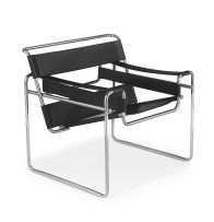 A chrome and leather Wassily chair designed in 1925 by Marcel Breuer for Knoll