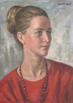 Alfred Neville Lewis; Portrait of a Woman in Red
