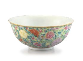 A Chinese 'millefleurs' bowl, Guangxu mark and period, 1875-1908