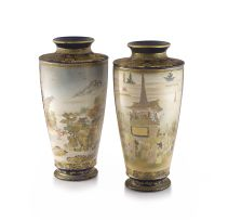 A pair of large Japanese Satsuma vases, Meiji period, 1868-1912