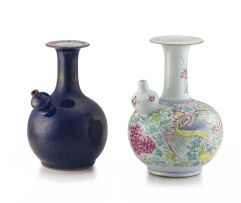 A Chinese famille-rose and blue-glazed kendi, Qianlong period, 1735-1796