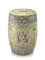 A Chinese famille-rose 'Phoenix and Dragon' barrel seat, 19th century