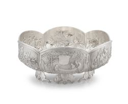 A Chinese Export silver bowl, retailer's mark TJWW, late 19th century