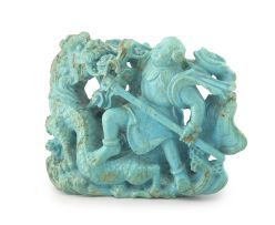 A Chinese turquoise carved figural group, Qing Dynasty, 19th century