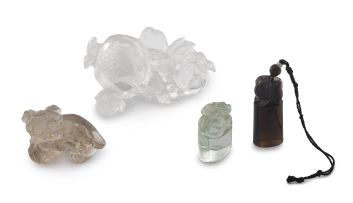 A Chinese carved crystal brush washer, Qing Dynasty, 19th/20th century