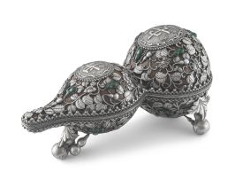 A Tibetan silver overlaid double-gourd box and cover, 19th/20th century
