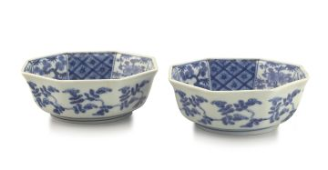A pair of Japanese Arita blue and white bowls, early 19th century