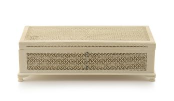 A Chinese carved reticulated ivory box, Qing Dynasty, 18th/19th century