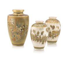 A pair of Japanese Satsuma vases, Meiji period, 1868-1912