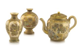 A Japanese Satsuma teapot, Yokuzan, Meiji period, 1868-1912