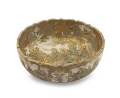 A large Japanese Satsuma bowl, Meiji period, 1868-1912